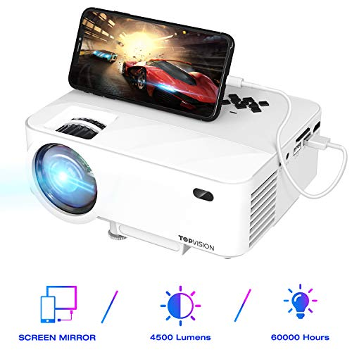 TOPVISION Mini Beamer mit Screen Mirroring,4500 Lumen Heimkino Beamer Full HD 1080P Video Beamer mit 180