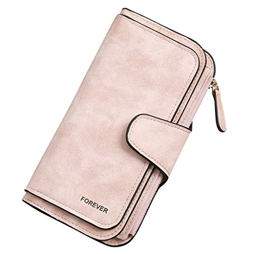 Carteira feminina de couro sintético, bolsa de mão, organizador de cartão de crédito, carteira de couro, duas dobras, carteira de embreagem