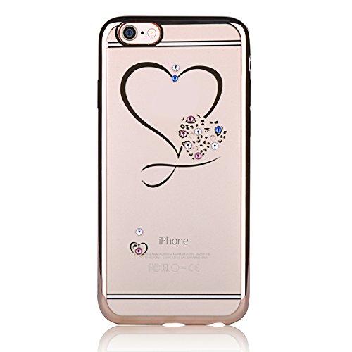 Feilok - Cover per iPhone 6/6S da 4,7 pollici, in morbido gel TPU trasparente con strass