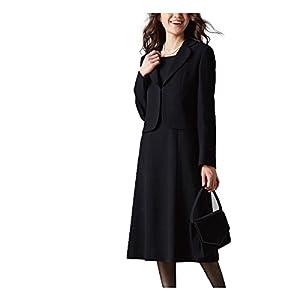 [nissen(ニッセン)] フォーマル スーツ アンサンブル セット 前開き ワンピース テーラードジャケット レディース 黒 17号