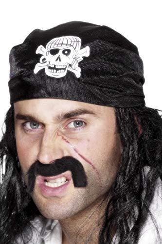 Smiffys Unisex Piraten Totenkopf Kopftuch, One Size, Schwarz, 25590