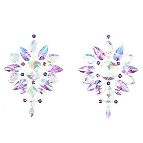 VALICLUD Empanadas de Cristal Diamantes de Imitacin Brillantes Cubierta sin Pinzas Pegatinas de Acrlico para El Pecho Empanadas Arte para Damas Mujeres Adultos