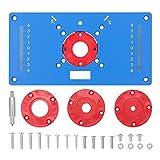 Kecheer Placa de inserción de mesa fresadora,Placa de tabla inserción mesa router con 4 anillos,Herramienta de carpintería
