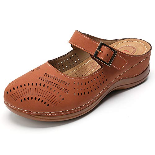 gracosy Zuecos para Mujer Cuero Verano Loafer Ahuecar Mules Zapatillas de Playa Planos Zapatos Antideslizantes Sandalias Mary Jane Zapatilla