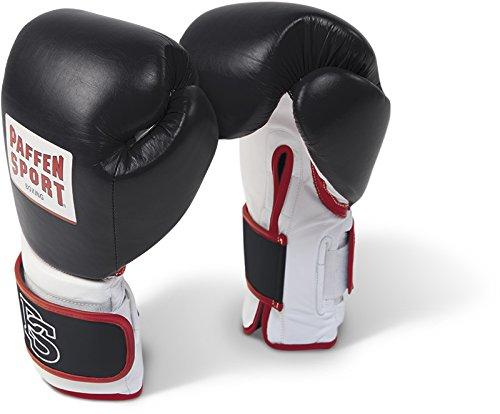 Paffen Sport PRO Performance Boxhandschuhe für das Sparring; schwarz/weiß/rot; 16UZ