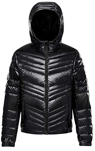 NITAGUT Men's Packable Insulated Warm Hooded Puffer Down Jacket Winter Coat Black, Large