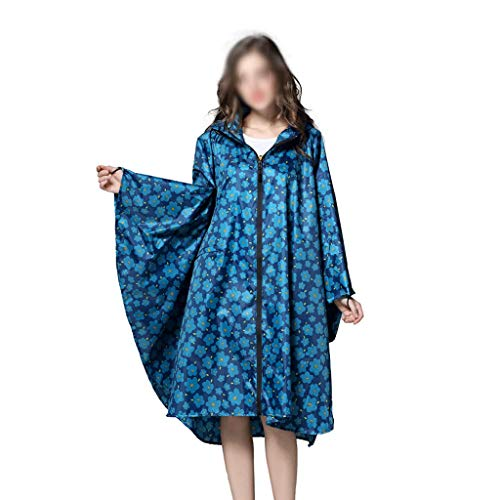 YUTRD ZCJUX Trench Coat Style con Capucha Mujeres Impermeable Al Aire Libre Lluvia Llena Poncho Abrigo Impermeable Abrigo Azul Flor Ropa de Lluvia