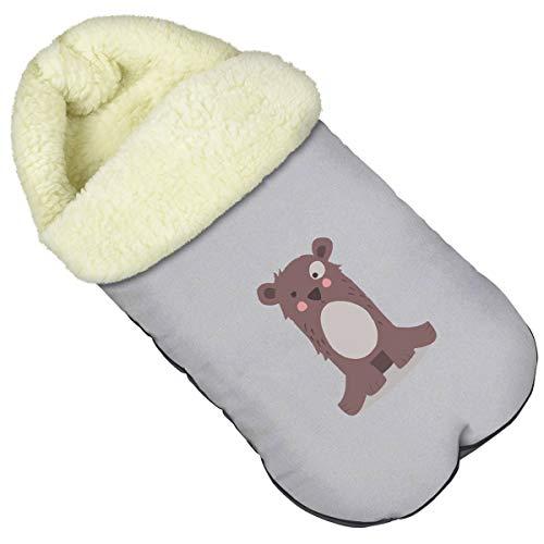 Baby voetenzak wintervoetenzak voor kinderwagen afmetingen 85 cm voor buggy met capuchon wol [071]