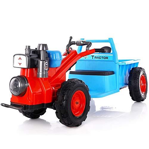 GRTVF Elektro-Auto Vier Räder Kinder Können Menschen Auto Sitzen Traktor Double Drive Walking kann Sit Selbstfahr Spielzeug Kinderwagen Walker Traktor mit Cargo-Eimer for Kinder