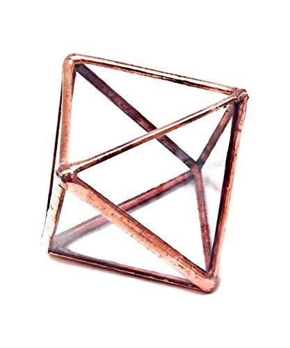 Diamant Petite Terrarium/géométrique en verre Pot de fleurs/pot de fleurs moderne/fait à la main en Angleterre S Cuivre clair