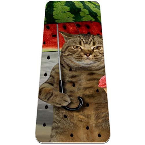 Esterilla Yoga Mat Antideslizante Profesional - Divertido gato lluvia sandía día - Colchoneta Gruesa para Deportes - Gimnasia Pilates Fitness - Ecológica