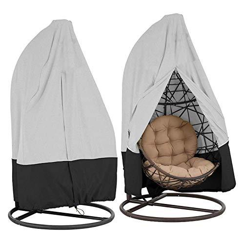 FDSAD Swing Chair wasserdichte Abdeckung Rattan Swing Patio Gartenwebart Hängende Ei Stuhl Sitzbezug Anti-UV,Gray Black,190 * 115cm