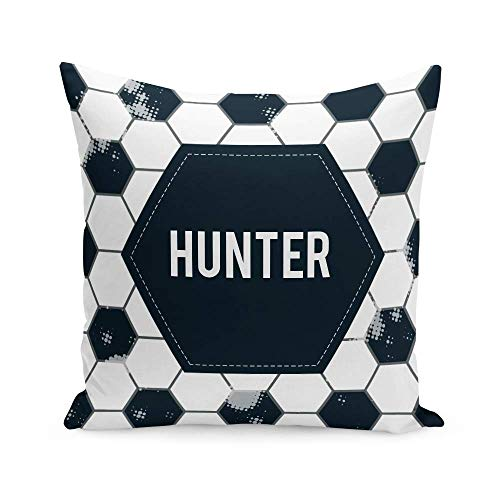 Tee Monkey Personalised Football Small Cushion With Insert White Boys Kids Bedroom Cool Custom Name Gift