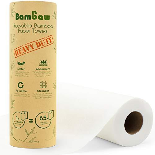 Bambus Küchenrolle | Waschbare Bambustücher | Saugstarke und Reißfeste Haushaltstücher | küchenrolle Wiederverwendbar | Papiertücher | schnelltrocknend | Bambaw