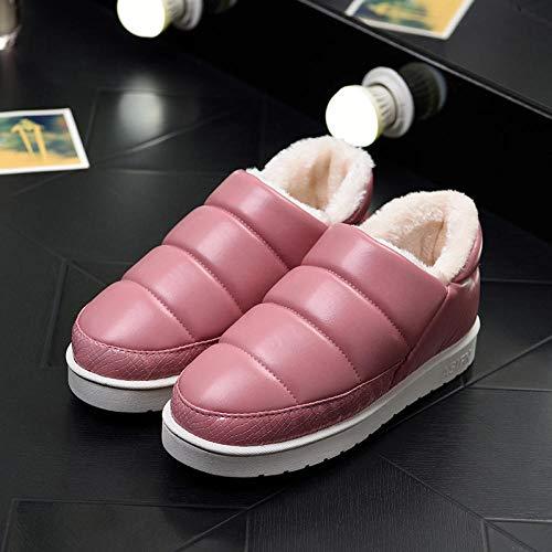 Nwarmsouth Invierno Memory Foam Casa Zapatos,Bolsa de tacón Zapatos de algodón de Invierno, Zapatillas de casa Calientes-Rojo Vino_34-35,Zapatillas de Hombre Durables y cómodas