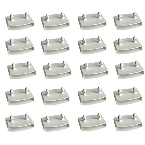 XIAONAN 54-55mm Satz von 20 STK Weiß Lattenhalter (Lattenrost) für Mittelschiene Ersatz Bett Lamelle Inhaber Kits Plastik Center Kappen Inhaber Breite x Höhe 55mm x 9mm (Innenmaß)