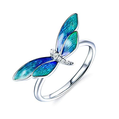 Cenliva Jewellery Rings for Women, 18K Gold 0.037ct Emel Dragonfly Gemstone Diamond FL Ring Size O 1/2