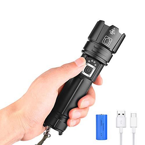 XHP70.2 Torcia LED Potente Professionale, WESLITE Torcia Tattica LED Ricaricabili 7000 Lumens Torce LED Alta Potenza 5 Modalità zoomabili con Display di Alimentazione e Batteria Ricaricabile