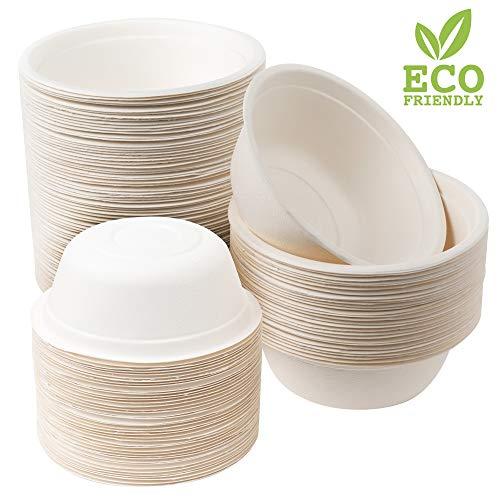 100 Premium Einwegschalen Zuckerrohr, 500ml| Umweltfreundlich, Biologisch Abbaubar & Kompostierbare - Starke & Stabil| Suppenschale Schüssel Papierschalen - Flüssigkeitsdicht & Mikrowellenfest.