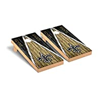 Victory Tailgate Regulation NFL Triangle Weathered Series Cornhole Board Set - 2 Boards, 8 Bags - New Orleans Saints