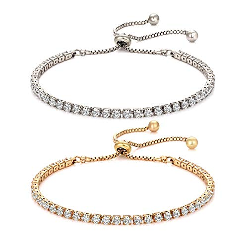 Tennis-Armbänder für Damen, Mädchen, Charm, Zirkonia, Gliederarmband, Bolo, verstellbar, 2 Stück