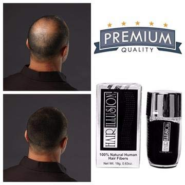 HAIR ILLUSION – 100% Natural Human Hair FibersNot Synthetic For Men & Women, Premium Hair Building Formulation, Black 18g