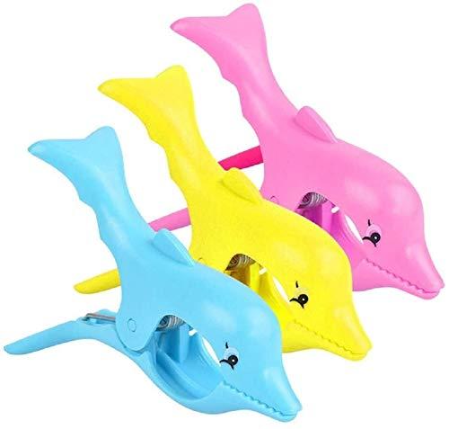 HMLSM Clips de plástico Tumbona Toalla de Playa Clips de la Novedad de Viento Tumbona Clavijas Piscina Pinzas de Campo (14 * 9 cm, sandía-Rojo) (Color : Dolphin-multicolour-3pcs, Size : 14 * 9cm)