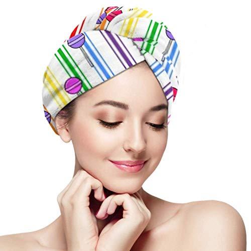 Toallas de microfibra para el cabello para mujeres, patrón sin costuras de piruletas de colores en blanco, turbante de cabeza antifrizz de secado rápido, súper absorbente, suave