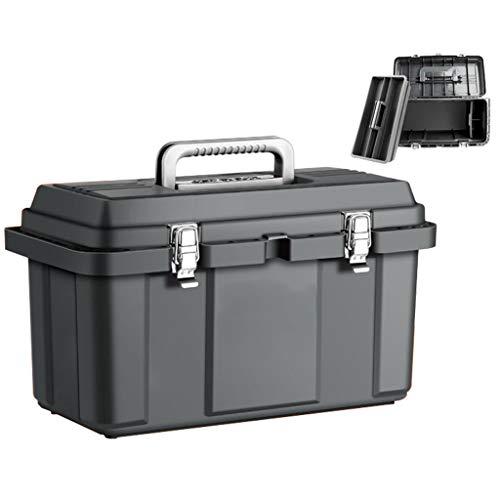 Cajas de herramientas Caja de herramientas de 3'de 17' Caja de herramientas de 3 capas con bandeja de herramientas desmontable Tapa de bloqueo de metal for la organización doméstica y herramientas de