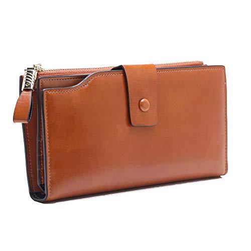 SHUAINIU Women's RFID Blocking Wallet Soft Leather Clutch Money Ladies Purse Slim Card Holder Organizer Zip Pocket
