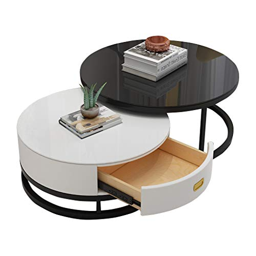 YF-Mirror Coffee Tables Set with Drawer, Tempered Glass Top Nesting End Table, Set of 2, Stackable Modern Minimalist Side Table for Living Room, Balcony, Black+White