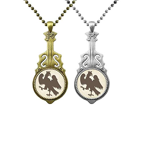 Europ Animals National Emblem Soar Adler Musik Gitarre Anhänger Schmuck Halskette Anhänger Paar