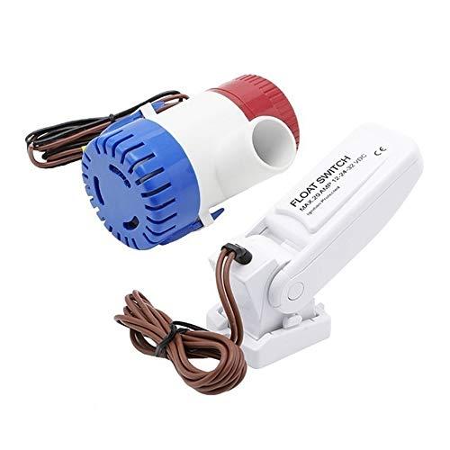 Fesjoy 12V 1100GPH Bomba de achique automática para barcos Interruptor de flotador Interruptores de sentina Sensor de flujo para bomba de agua eléctrica