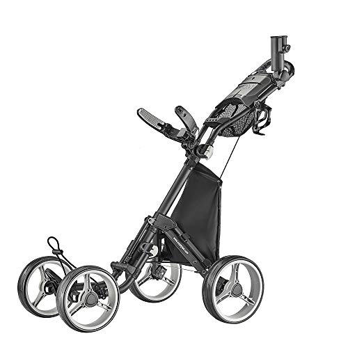 CaddyTek 4 Wheel Golf Push Cart - Compact, Lightweight, Close Folding Push Pull Caddy Cart Trolley - Explorer V8, Dark Grey, One Size, Model: Explorer Vsersion 8 - Dark Grey