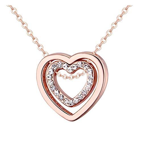 Collar con colgante de corazón para mujer, cadena de joyería, día de San Valentín, aniversario, cumpleaños, regalo para su esposa, novia, multicolor
