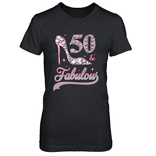 TeesPass Women's 50 and Fabulous 50 Years Old 1970 50th Birthday Gift Shirt Ladies' Short Sleeve Tee (Black, S)