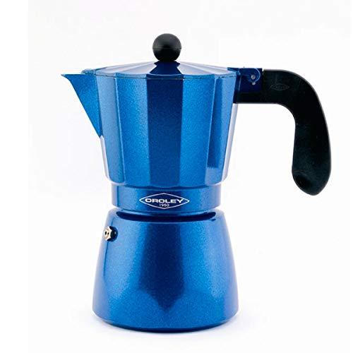 Oroley - Cafetera Italiana Blue Induction | Base de Acero Inoxidable | 9 Tazas | Cafetera Inducción, Vitrocerámica, Fuego y Gas | Estilo Tradicional