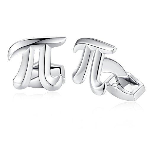 HONEY BEAR Herren π Physik Symbol Mathematik Manschettenknöpfe Cufflinks Edelstahl Manschettenknopf, Silber,MEHRWEG
