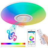 Upgrade 36W LED Ceiling Lights with Bluetooth Speaker Smartphone APP, Dimmable 15.7-inch Music RGBW Color Temperature Adjustable, 80W Fluorescent Equivalent, Round Flush Mount Light Fixture