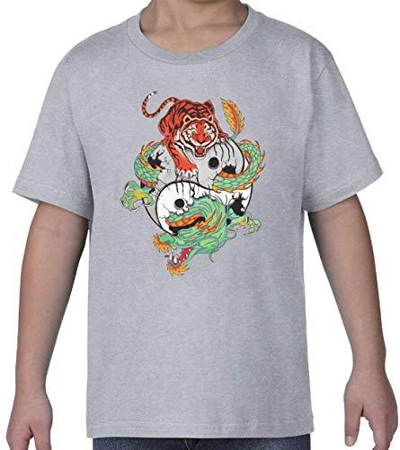 Tiger and Dragon Yin and Yang Balance Graphic Gris Kids Crew Neck T-Shirt XS