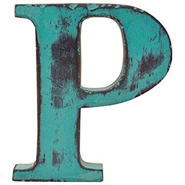 Shabby Chic Vintage Large 11 cm Wooden Letters Hand Finished Alphabets Free-Standing Or Wall Mounted D�cor for Weddings Baby Names Signs Unique Personalised Gift. (Teal, Letter P)