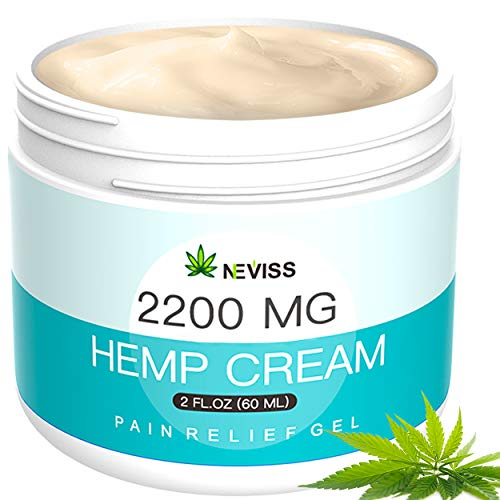 Hemp Cream for Pain Relief (2200 MG) - Natural Hemp Pain Relief Cream for Back, Knee, Neck, Nerve & Joint Pain, Premium Hemp Pain Cream for Inflammation & Sore Muscles - Made in USA