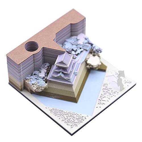 Vovoo 小倉城付箋紙のメモクリエイティブ 3D紙建築シーン模型組立3D立体Memo Block おもしろいメモ帳 (ブルー)