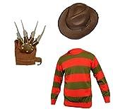 Disfraz para niños y niñas, diseño del personaje de terror Freddy , para Halloween, incluye sombrero, jersey y guantes, tallas: