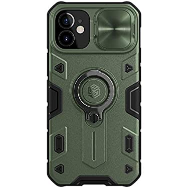 """Nillkin Case for Apple iPhone 12 Mini (5.4"""" Inch) CamShield Armor Military Grade Camera Close & Open Double Layered Protection TPU + PC Finish with Kickstand Dark Green"""