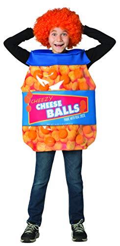 Rasta Imposta Cheeseballs Costume Funny Food Outfit Kids Child Fit Sizes 7-10 Orange, Blue