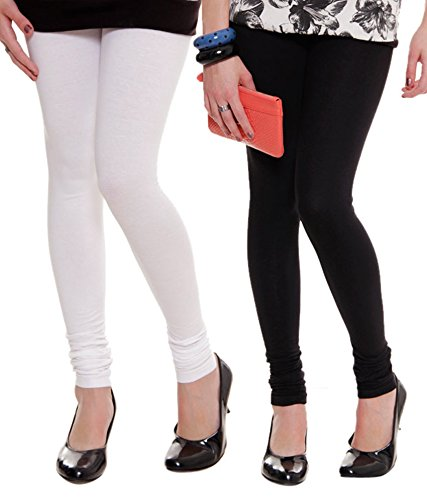 Lux lyra Women's Cotton Leggings (W~10/b~11, Black/White, Free Size) - Pack Of 2