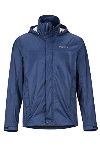 Marmot Men's PreCip Eco Jacket, Waterproof Jacket, Lightweight Hooded Rain Jacket, Windproof Raincoat, Breathable Windbreaker, Ideal for Running and Hiking, Blue (Arctic Navy), L