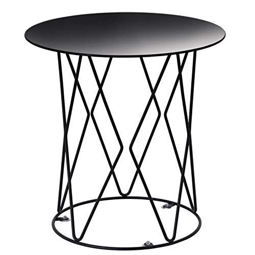 IDIMEX Beistelltisch MADESIS rund, Wohnzimmertisch Sofatisch Ablagetisch Stubentisch, Glasplatte in schwarz, Metallgestell in schwarz