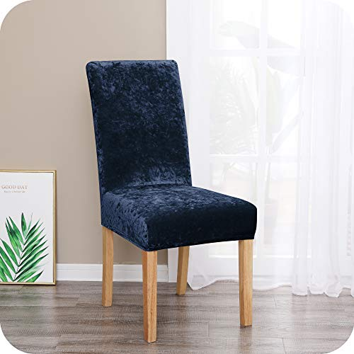 Amazon Brand – Umi Fundas para sillas de Comedor elásticas Suave Azul Marino(Juego de 4)
